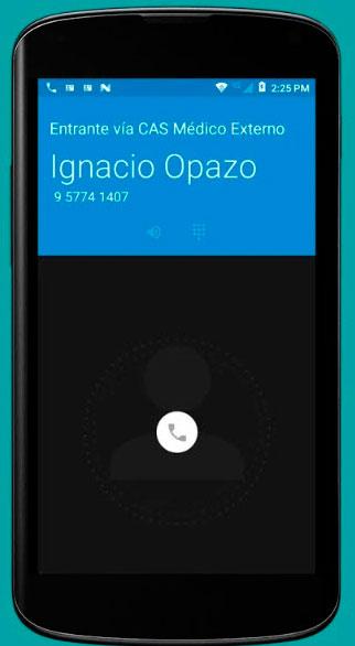 App telemedicina llamada entrante