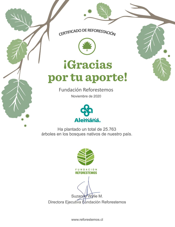 Certificado de Reforestación, gracias por tu aporte